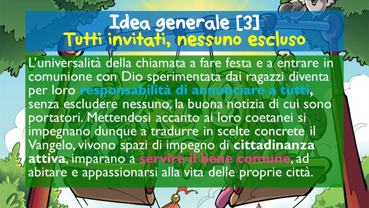 Idea generale [3] Tutti invitati, nessuno escluso Luniversalità della chiamata a fare festa e a entrare in comunione con Dio sperimentata dai ragazzi