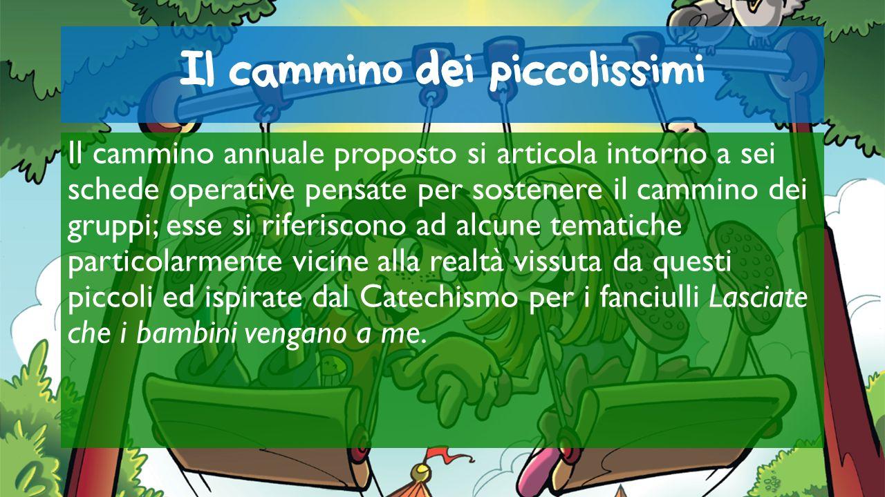 Il cammino dei piccolissimi - le schede Queste schede tematiche hanno il seguente sviluppo: Io e il parco giochi; Io e la famiglia; Io e il Natale; Io e la festa; Io e la comunità; Io e la Pasqua; Io e il mondo.