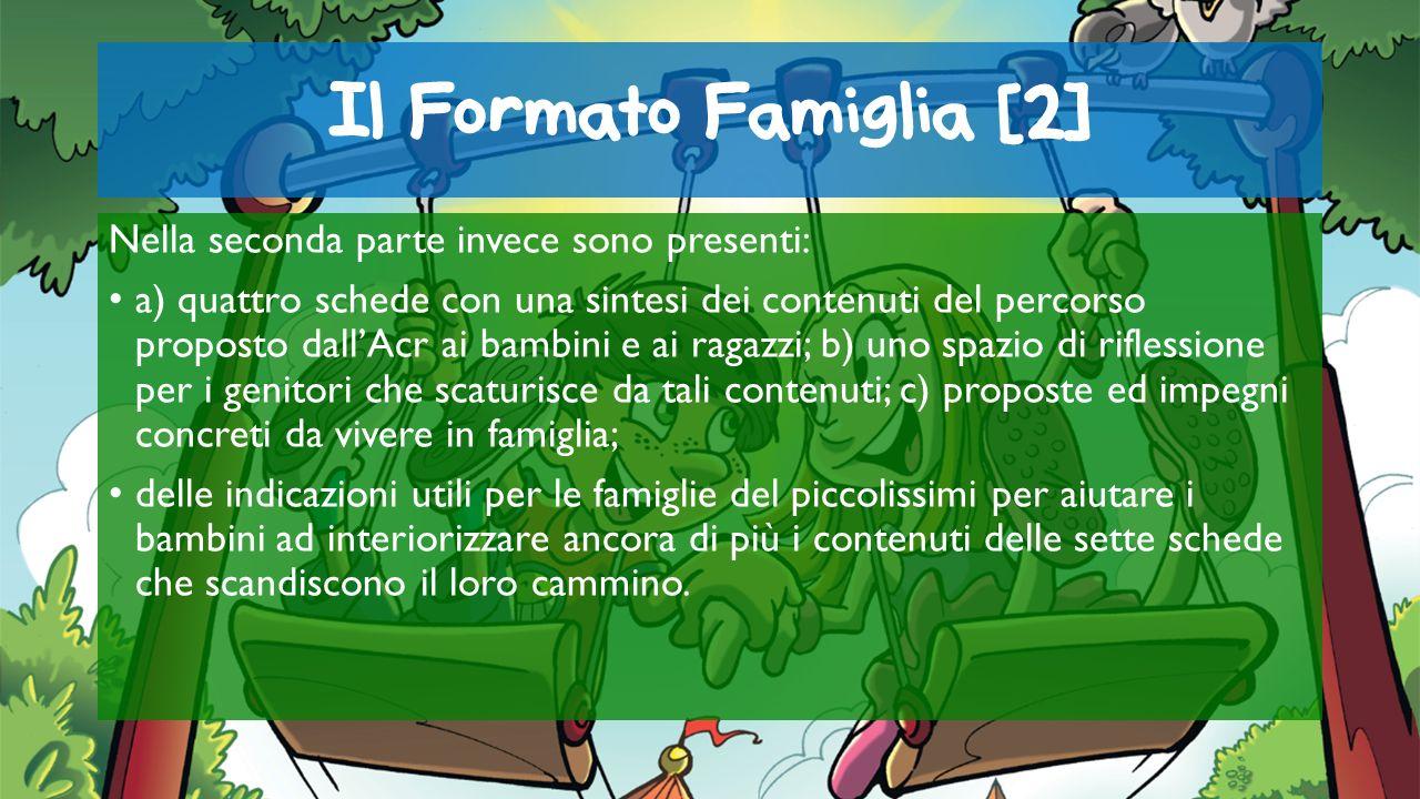 Il Formato Famiglia [2] Nella seconda parte invece sono presenti: a) quattro schede con una sintesi dei contenuti del percorso proposto dallAcr ai bam