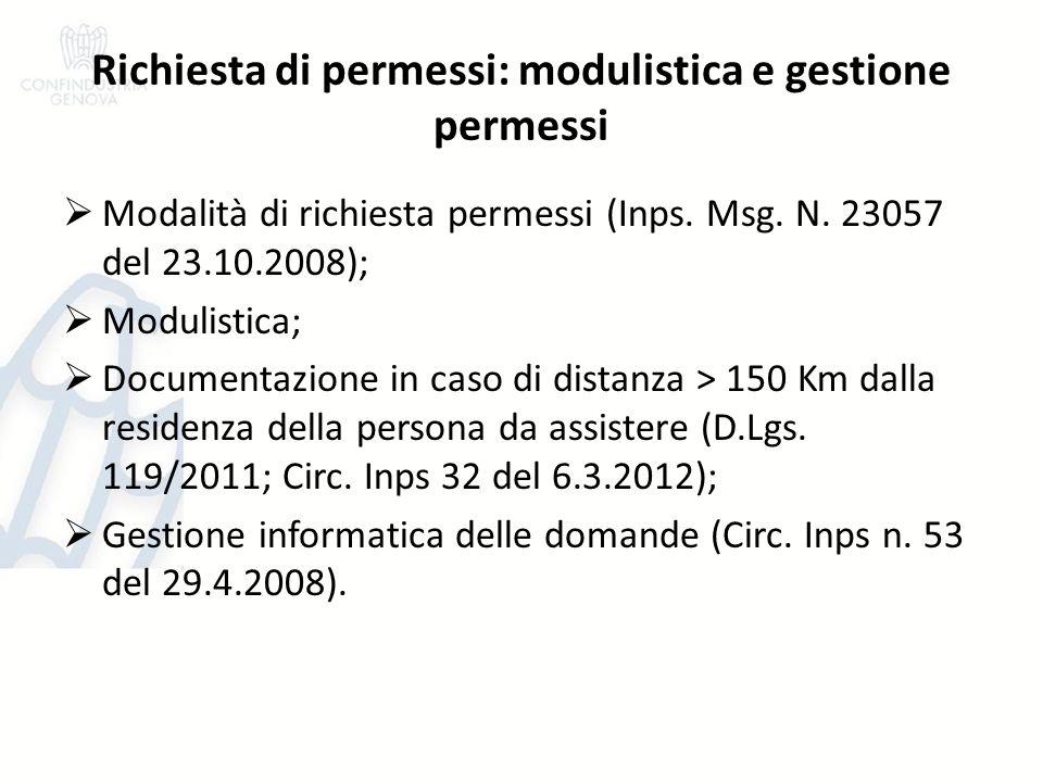 Richiesta di permessi: modulistica e gestione permessi Modalità di richiesta permessi (Inps. Msg. N. 23057 del 23.10.2008); Modulistica; Documentazion