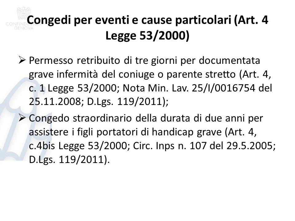 Congedi per eventi e cause particolari (Art. 4 Legge 53/2000) Permesso retribuito di tre giorni per documentata grave infermità del coniuge o parente