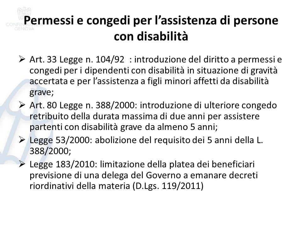 Permessi e congedi per lassistenza di persone con disabilità Art. 33 Legge n. 104/92 : introduzione del diritto a permessi e congedi per i dipendenti