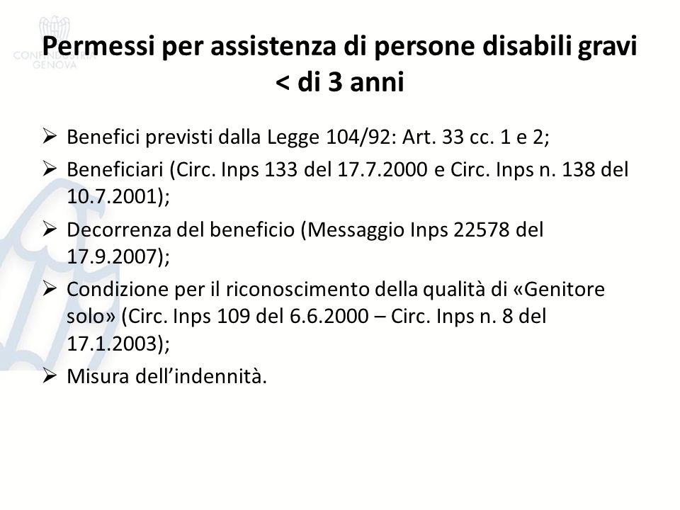 Permessi per assistenza di persone disabili gravi < di 3 anni Benefici previsti dalla Legge 104/92: Art. 33 cc. 1 e 2; Beneficiari (Circ. Inps 133 del