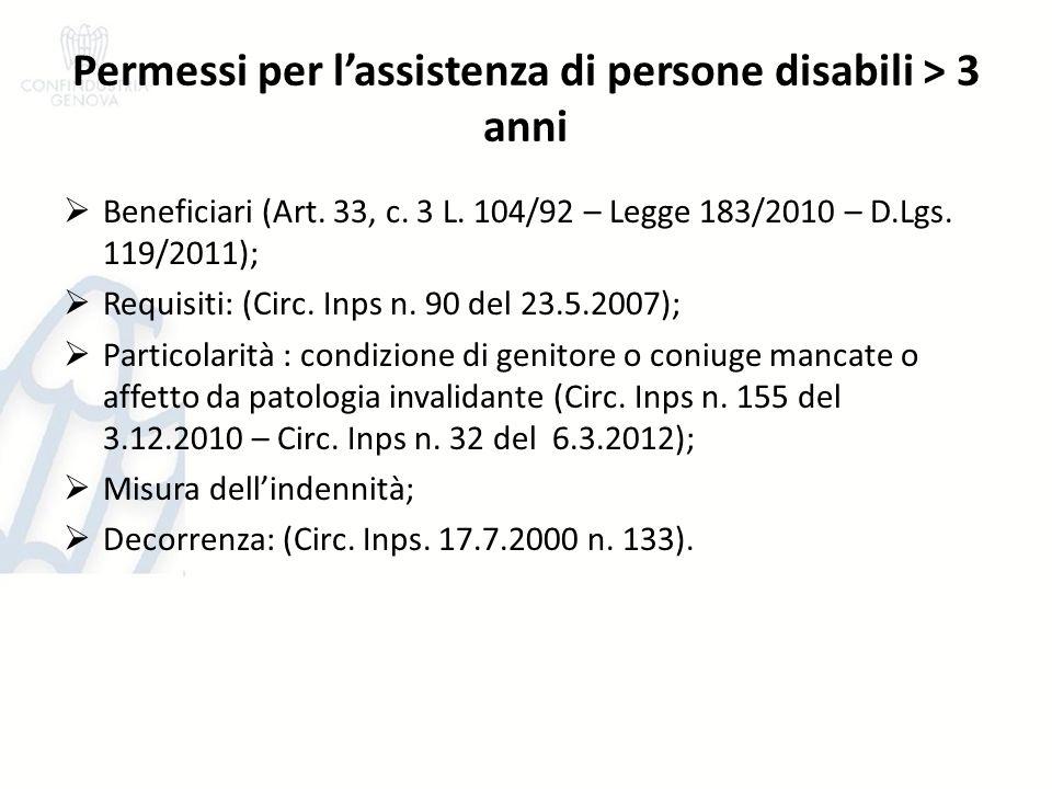 Permessi per lassistenza di persone disabili > 3 anni Beneficiari (Art. 33, c. 3 L. 104/92 – Legge 183/2010 – D.Lgs. 119/2011); Requisiti: (Circ. Inps