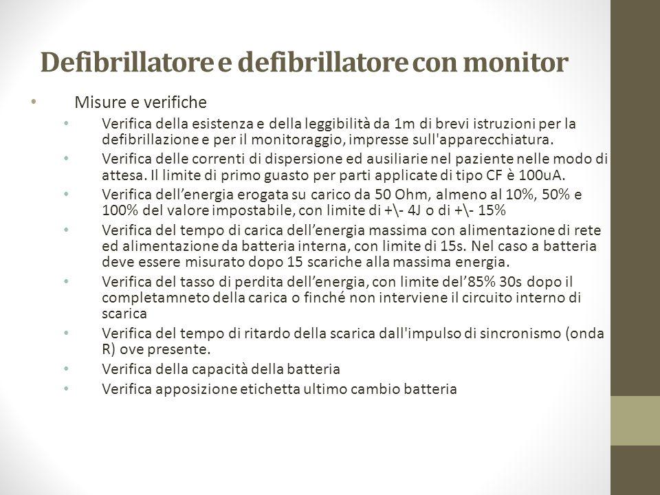 Defibrillatore e defibrillatore con monitor Misure e verifiche Verifica della esistenza e della leggibilità da 1m di brevi istruzioni per la defibrill