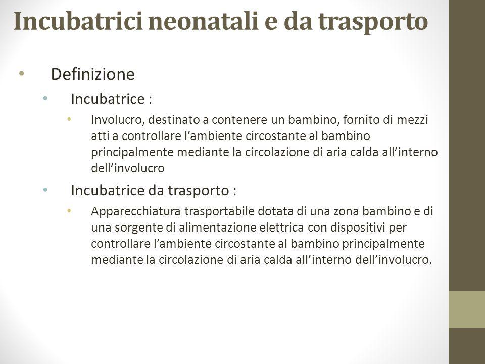 Incubatrici neonatali e da trasporto Definizione Incubatrice : Involucro, destinato a contenere un bambino, fornito di mezzi atti a controllare lambie