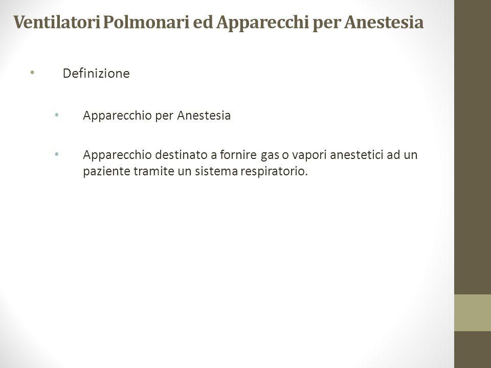 Ventilatori Polmonari ed Apparecchi per Anestesia Definizione Apparecchio per Anestesia Apparecchio destinato a fornire gas o vapori anestetici ad un