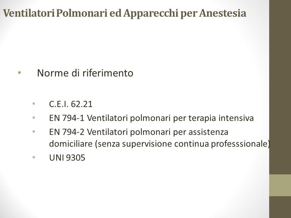 Ventilatori Polmonari ed Apparecchi per Anestesia Norme di riferimento C.E.I. 62.21 EN 794-1 Ventilatori polmonari per terapia intensiva EN 794-2 Vent