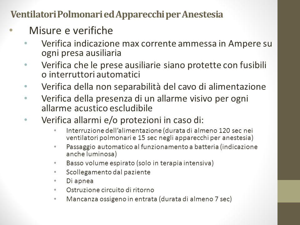 Ventilatori Polmonari ed Apparecchi per Anestesia Misure e verifiche Verifica indicazione max corrente ammessa in Ampere su ogni presa ausiliaria Veri