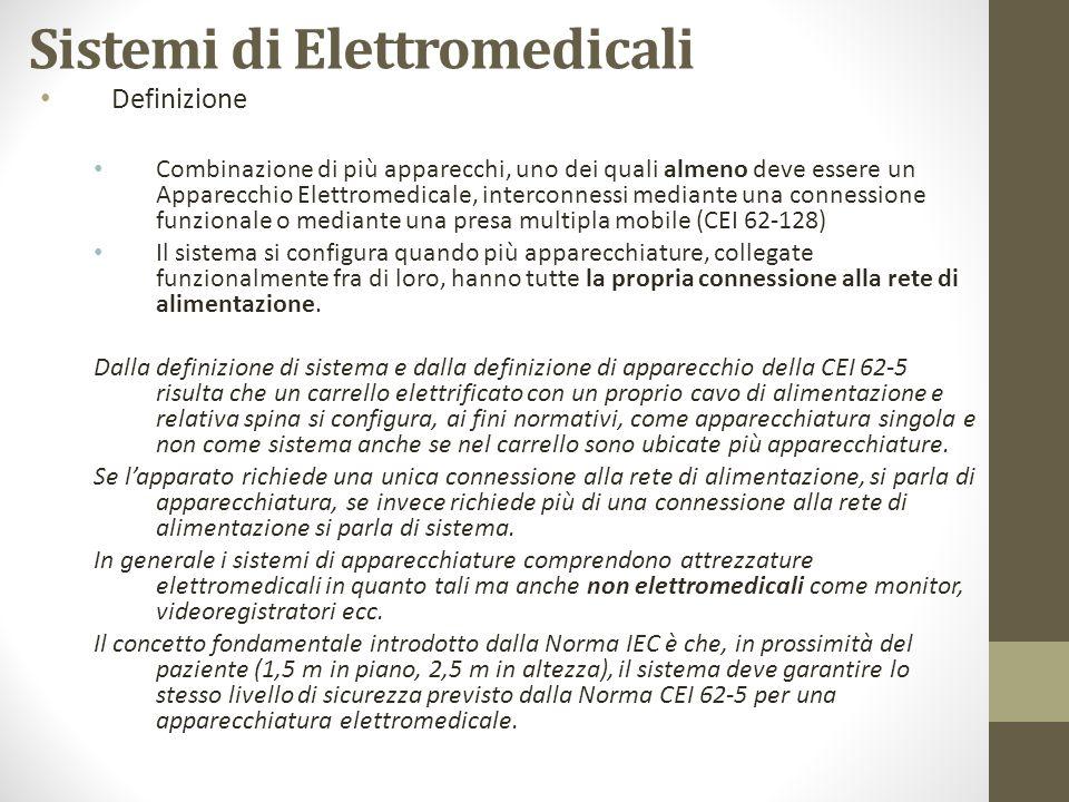 Sistemi di Elettromedicali Definizione Combinazione di più apparecchi, uno dei quali almeno deve essere un Apparecchio Elettromedicale, interconnessi