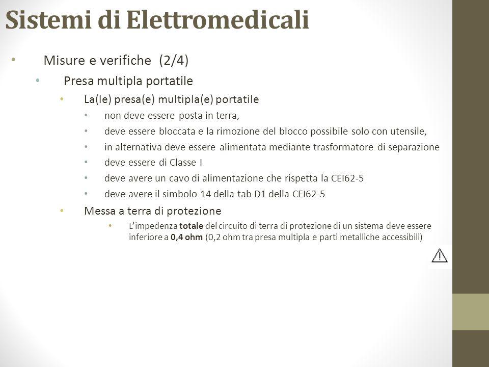 Sistemi di Elettromedicali Misure e verifiche (2/4) Presa multipla portatile La(le) presa(e) multipla(e) portatile non deve essere posta in terra, dev