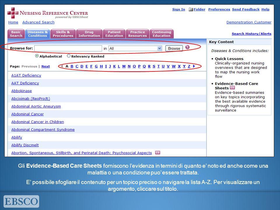 Gli Evidence-Based Care Sheets forniscono levidenza in termini di quanto e noto ed anche come una malattia o una condizione puo essere trattata. E pos