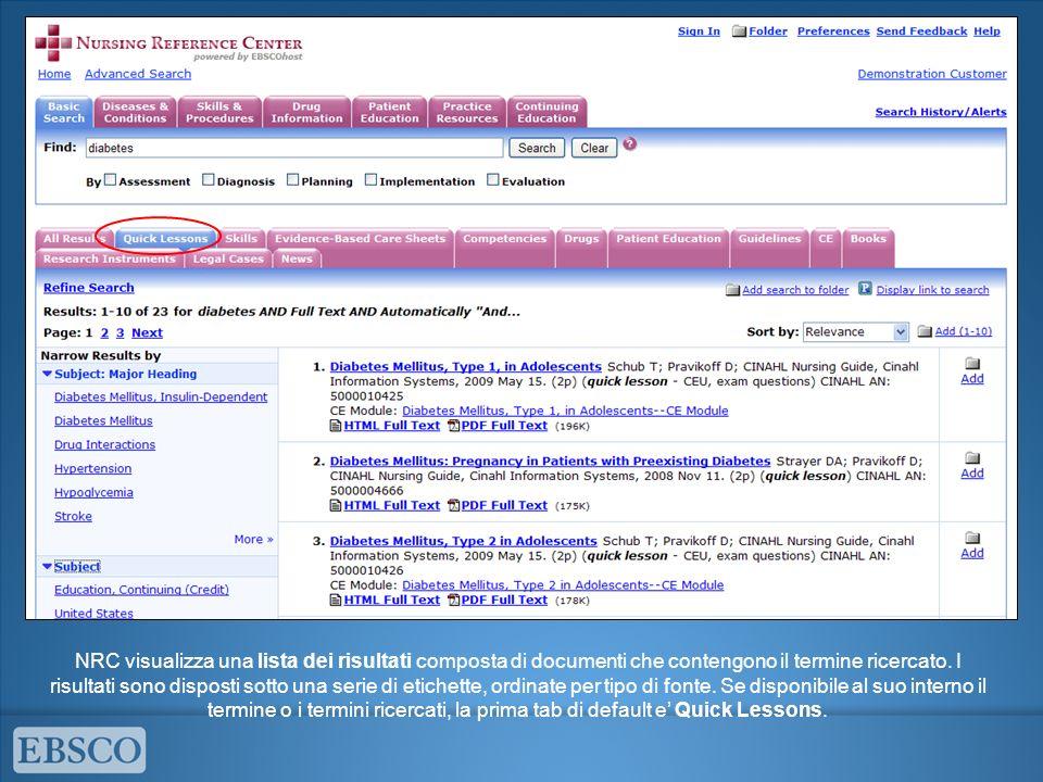 NRC visualizza una lista dei risultati composta di documenti che contengono il termine ricercato. I risultati sono disposti sotto una serie di etichet