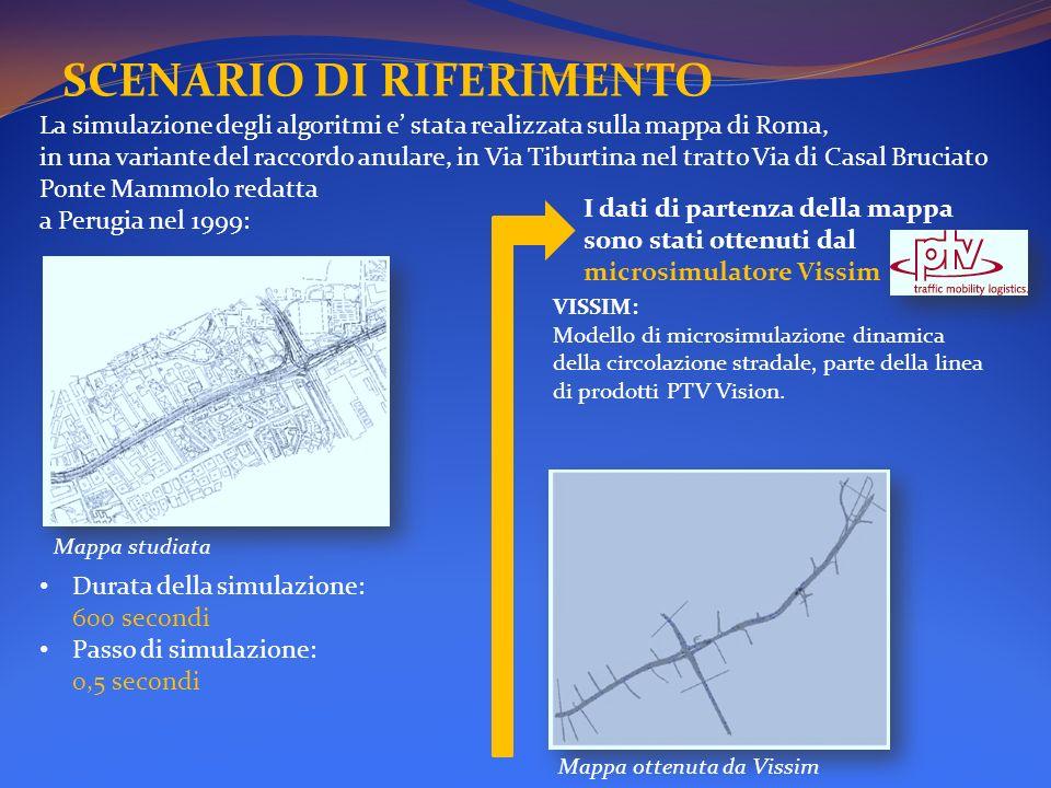 SCENARIO DI RIFERIMENTO La simulazione degli algoritmi e stata realizzata sulla mappa di Roma, in una variante del raccordo anulare, in Via Tiburtina