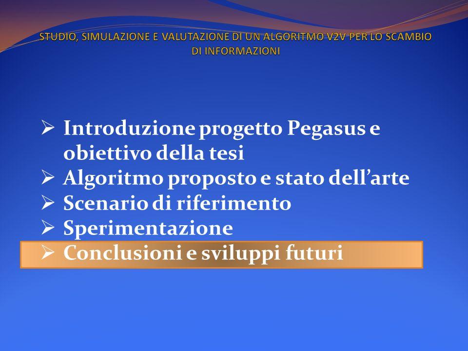 Introduzione progetto Pegasus e obiettivo della tesi Algoritmo proposto e stato dellarte Scenario di riferimento Sperimentazione Conclusioni e svilupp