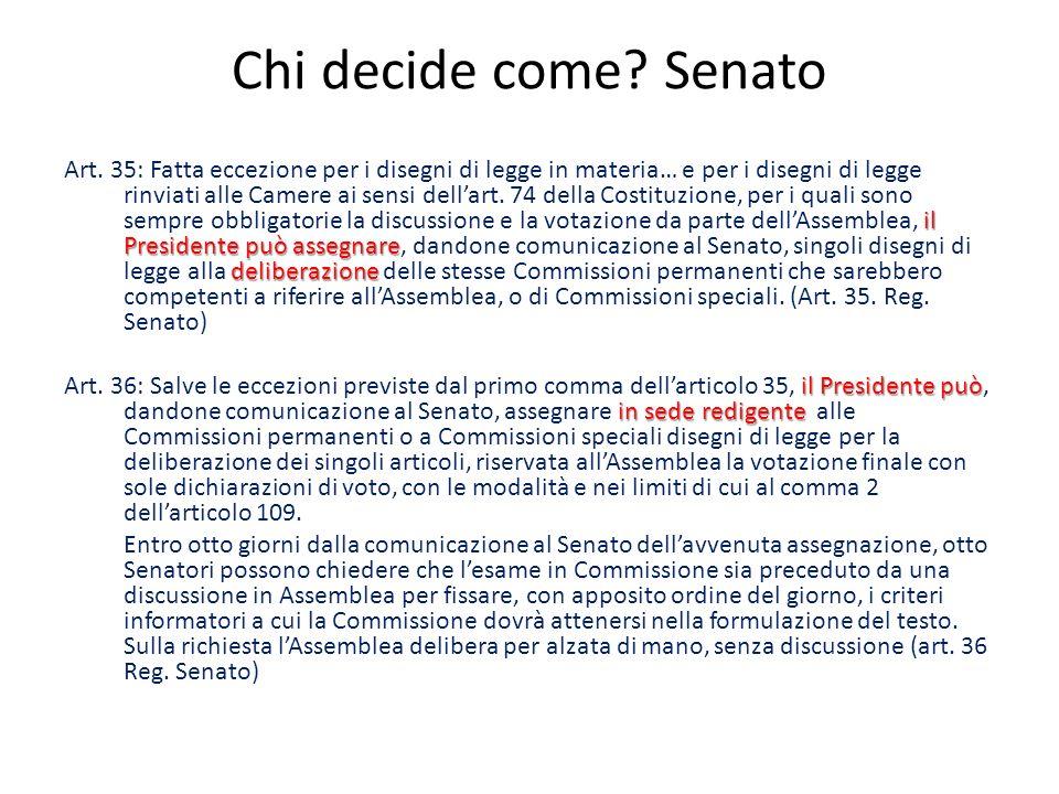 Chi decide come? Senato il Presidente può assegnare deliberazione Art. 35: Fatta eccezione per i disegni di legge in materia… e per i disegni di legge