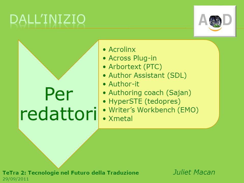 Per redattori Acrolinx Across Plug-in Arbortext (PTC) Author Assistant (SDL) Author-it Authoring coach (Sajan) HyperSTE (tedopres) Writers Workbench (