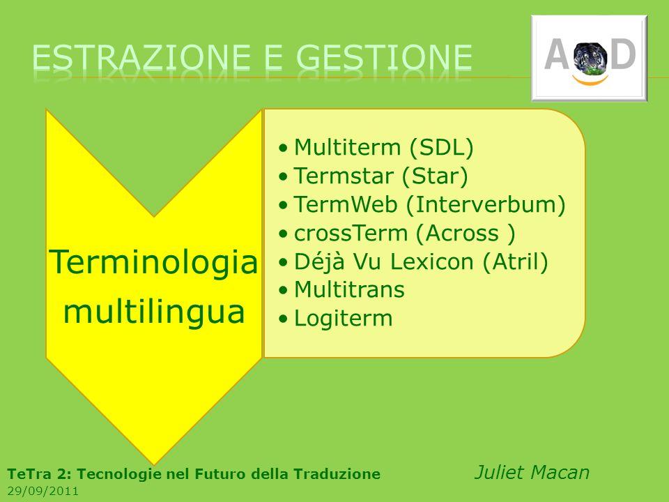 Terminologia multilingua Multiterm (SDL) Termstar (Star) TermWeb (Interverbum) crossTerm (Across ) Déjà Vu Lexicon (Atril) Multitrans Logiterm TeTra 2