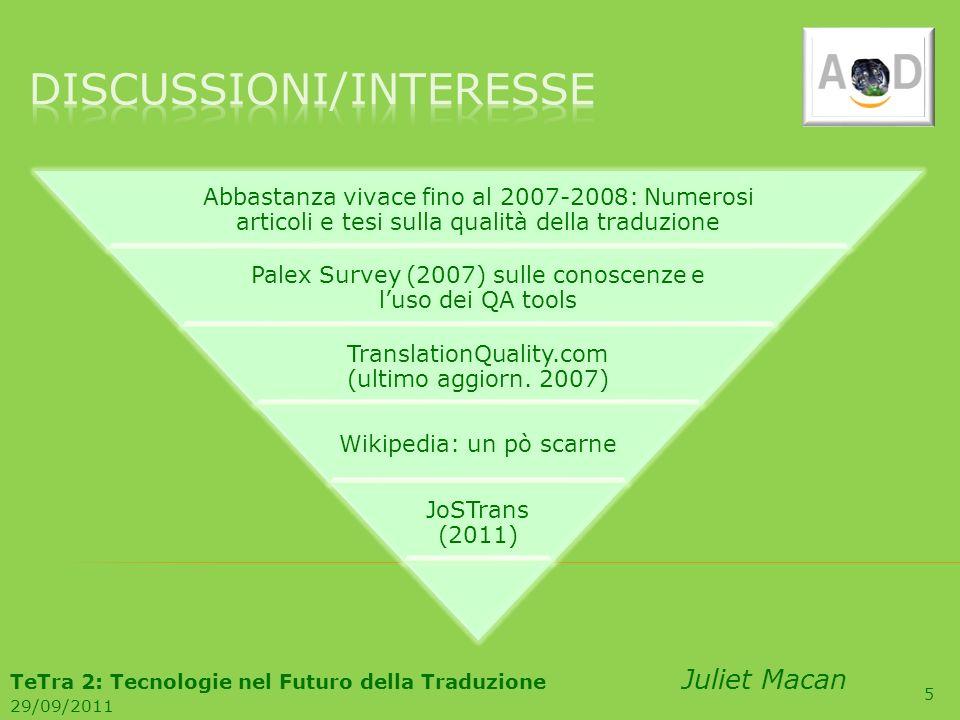 5 Abbastanza vivace fino al 2007-2008: Numerosi articoli e tesi sulla qualità della traduzione Palex Survey (2007) sulle conoscenze e luso dei QA tool