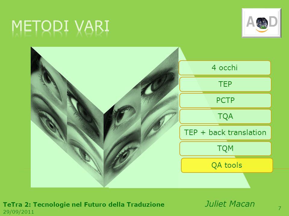 7 4 occhiTEPPCTPTQATEP + back translationTQMQA tools TeTra 2: Tecnologie nel Futuro della Traduzione Juliet Macan 29/09/2011
