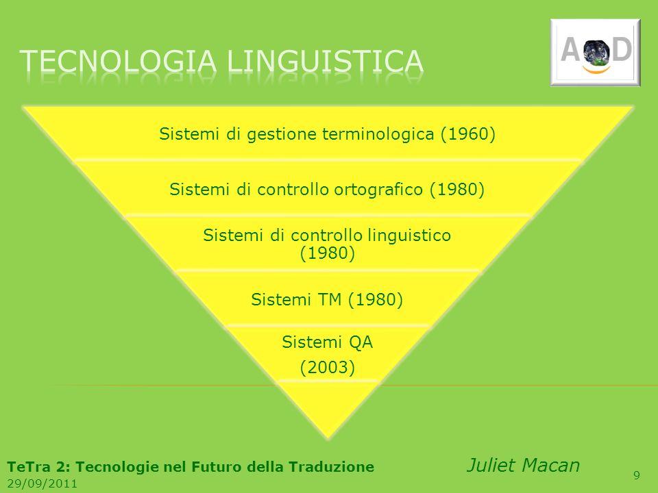 9 Sistemi di gestione terminologica (1960) Sistemi di controllo ortografico (1980) Sistemi di controllo linguistico (1980) Sistemi TM (1980) Sistemi Q