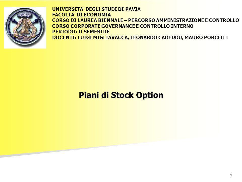 11 Piani di Stock Option UNIVERSITA DEGLI STUDI DI PAVIA FACOLTA DI ECONOMIA CORSO DI LAUREA BIENNALE – PERCORSO AMMINISTRAZIONE E CONTROLLO CORSO COR