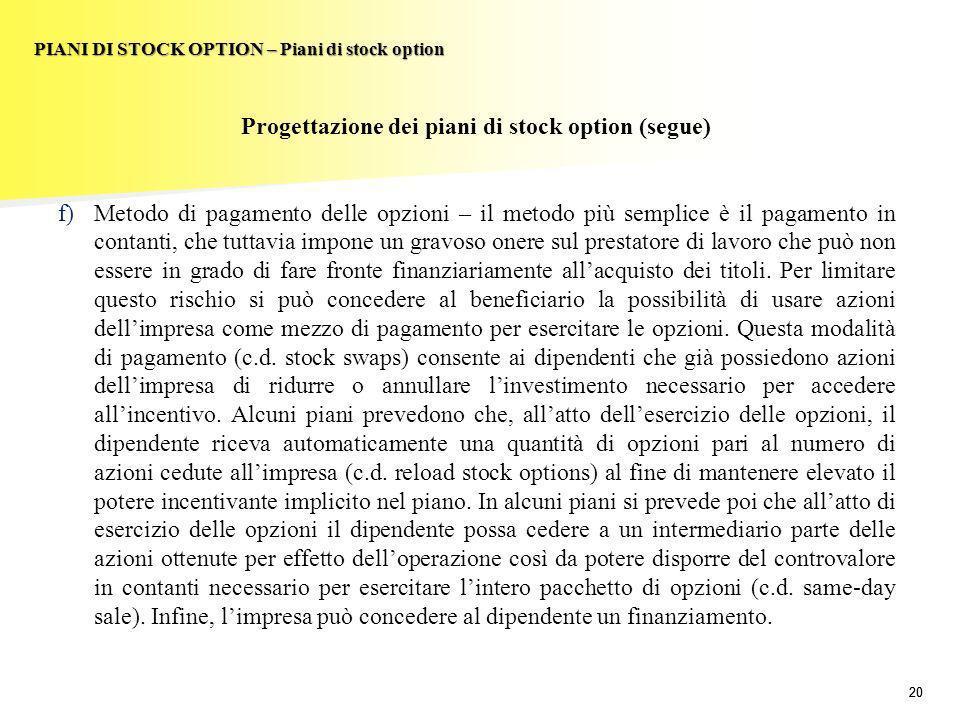 20 PIANI DI STOCK OPTION – Piani di stock option Progettazione dei piani di stock option (segue) f)Metodo di pagamento delle opzioni – il metodo più s
