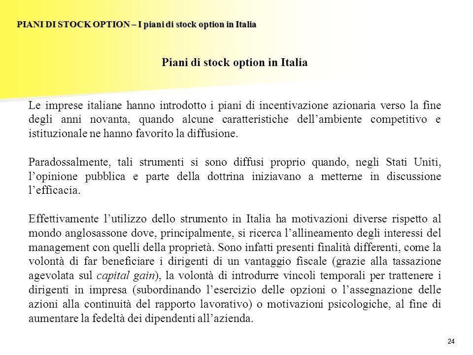 24 PIANI DI STOCK OPTION – I piani di stock option in Italia Piani di stock option in Italia Le imprese italiane hanno introdotto i piani di incentiva