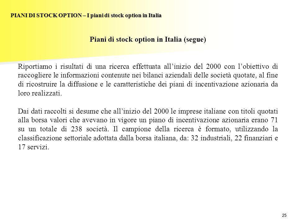 25 PIANI DI STOCK OPTION – I piani di stock option in Italia Piani di stock option in Italia (segue) Riportiamo i risultati di una ricerca effettuata