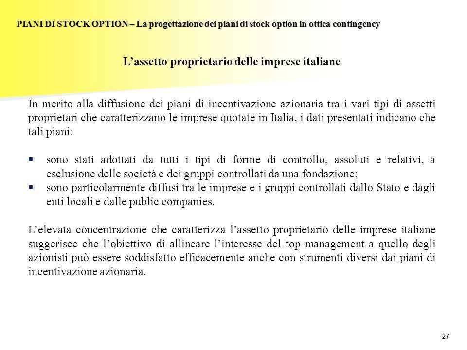 27 PIANI DI STOCK OPTION – La progettazione dei piani di stock option in ottica contingency Lassetto proprietario delle imprese italiane In merito all