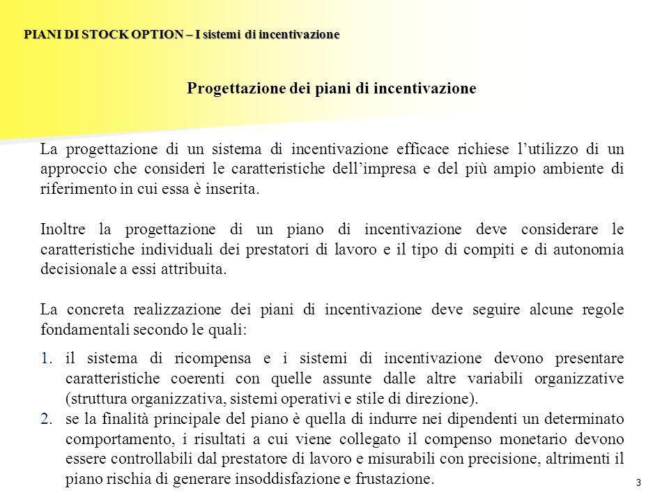 33 PIANI DI STOCK OPTION – I sistemi di incentivazione Progettazione dei piani di incentivazione La progettazione di un sistema di incentivazione effi