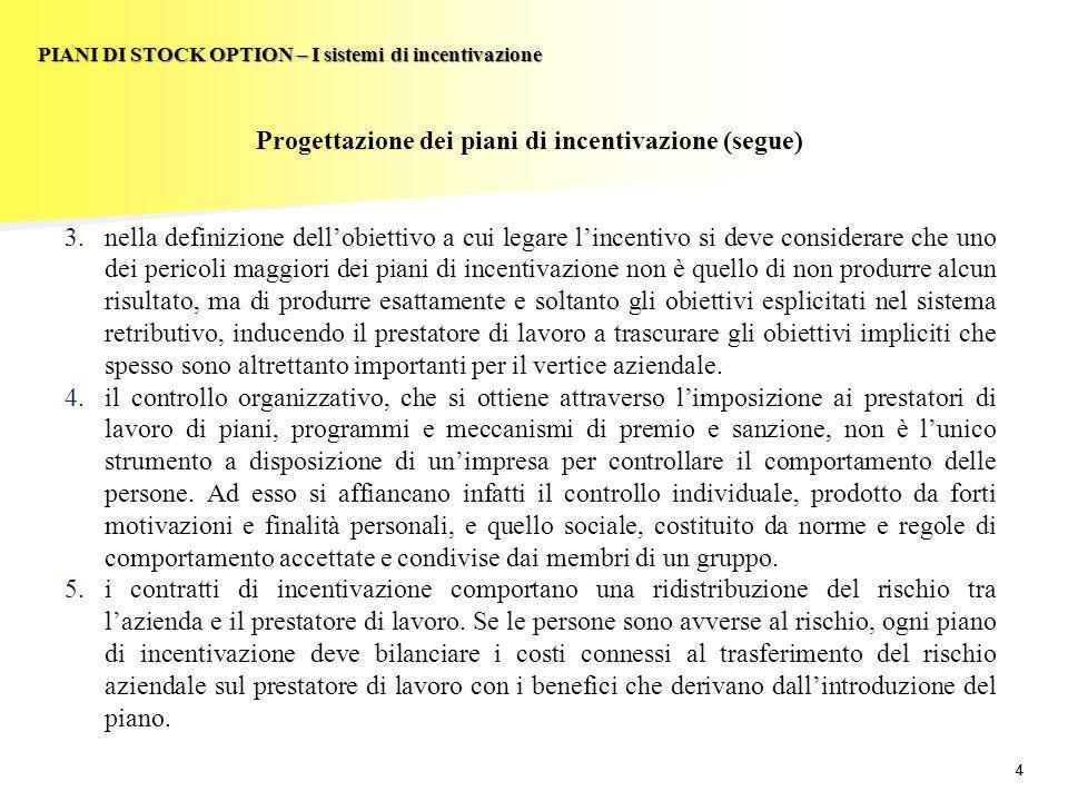 44 PIANI DI STOCK OPTION – I sistemi di incentivazione Progettazione dei piani di incentivazione (segue) 3.nella definizione dellobiettivo a cui legar
