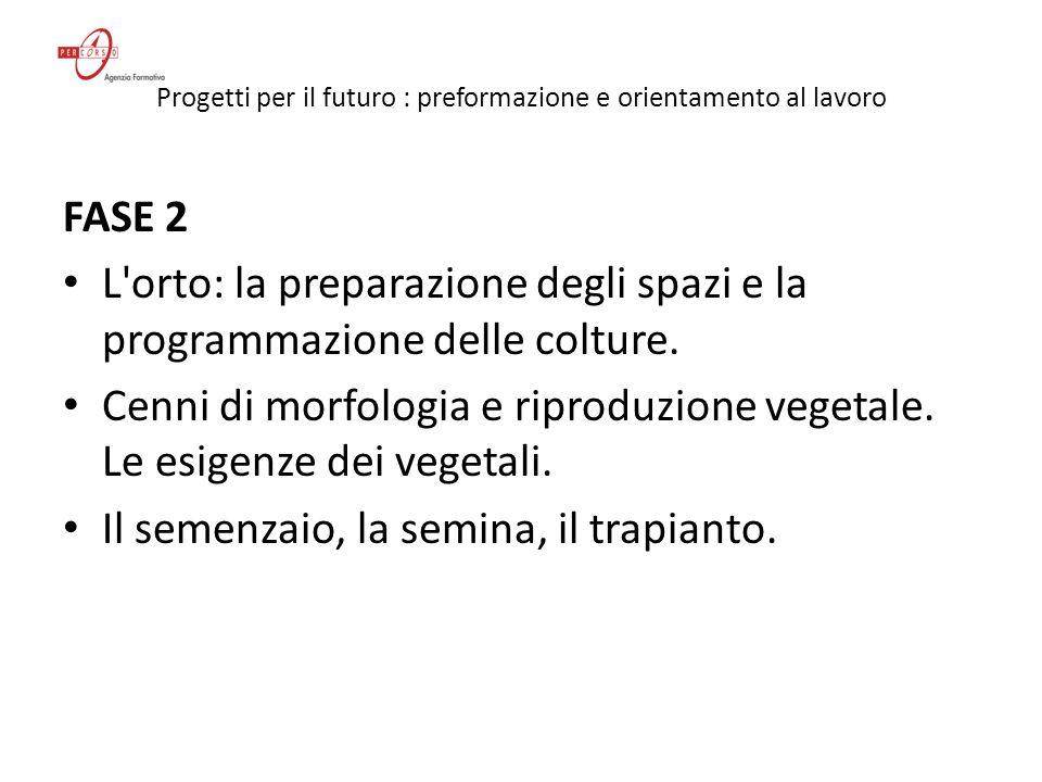 Progetti per il futuro : preformazione e orientamento al lavoro FASE 3 Il calendario delle semine.
