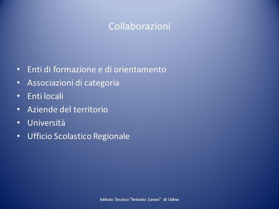 Collaborazioni Enti di formazione e di orientamento Associazioni di categoria Enti locali Aziende del territorio Università Ufficio Scolastico Regiona