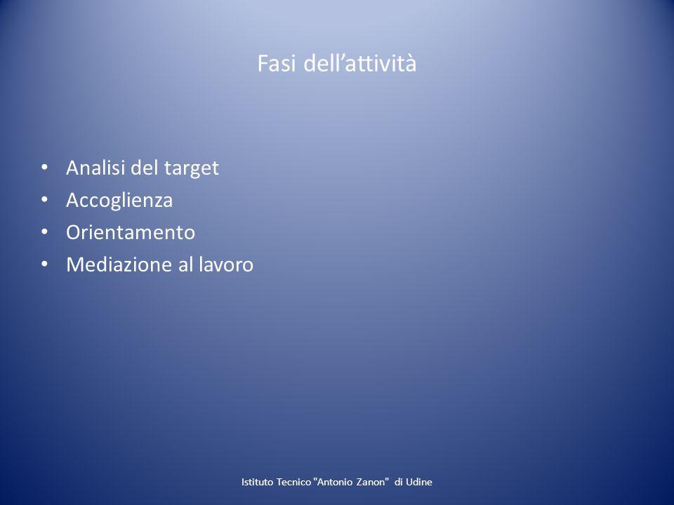 Fasi dellattività Analisi del target Accoglienza Orientamento Mediazione al lavoro Istituto Tecnico