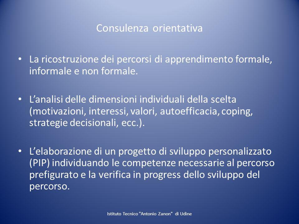 Consulenza orientativa La ricostruzione dei percorsi di apprendimento formale, informale e non formale. Lanalisi delle dimensioni individuali della sc
