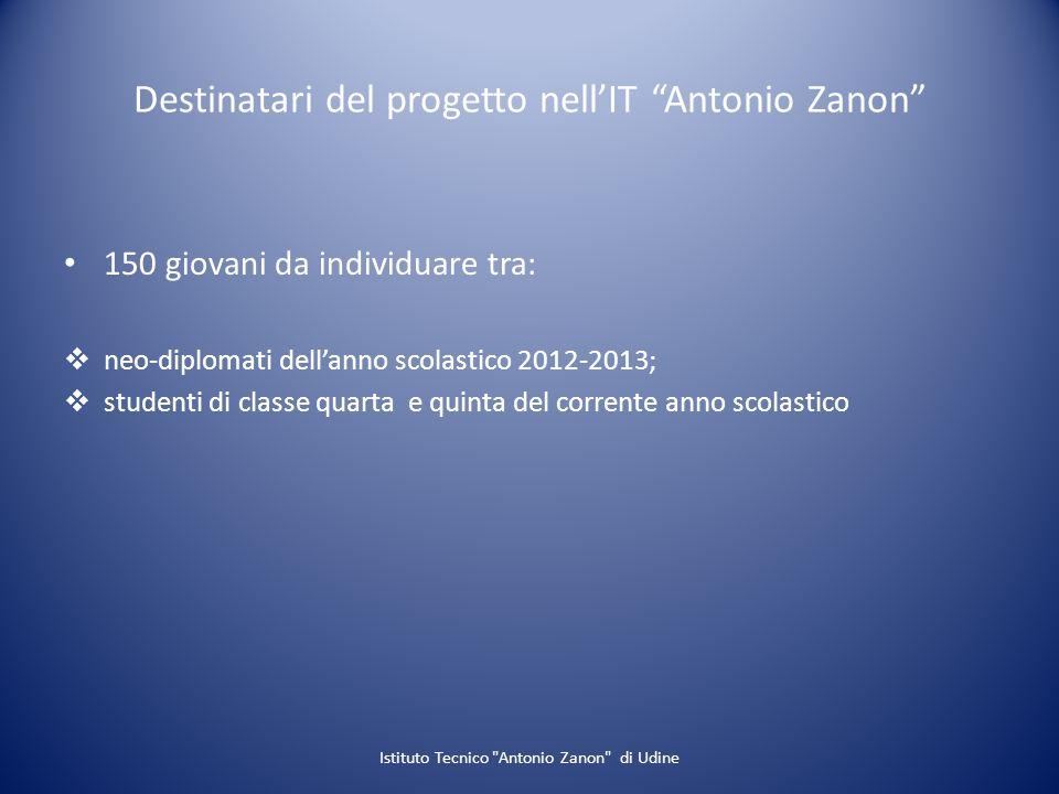 Destinatari del progetto nellIT Antonio Zanon 150 giovani da individuare tra: neo-diplomati dellanno scolastico 2012-2013; studenti di classe quarta e