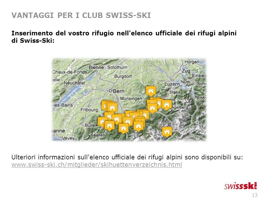12 VANTAGGI PER I CLUB SWISS-SKI Assicurazione contro i rischi di responsabilità civile dell organizzatore (Allianz) per eventi sportivi inseriti nel calendario ufficiale delle manifestazioni.