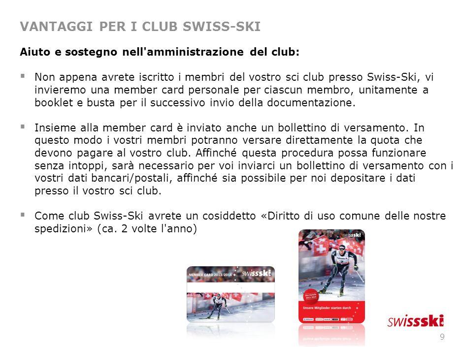 8 VANTAGGI PER I CLUB SWISS-SKI Noleggio gratuito del servizio numeri di partenza e bandierine Swisscom: Swisscom, in qualità di sponsor principale, offre un servizio gratuito di noleggio numeri di partenza e bandierine agli organizzatori di gare di sci a tutti i livelli.