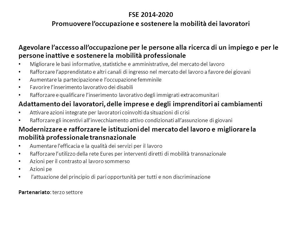FSE 2014-2020 Promuovere loccupazione e sostenere la mobilità dei lavoratori Agevolare laccesso alloccupazione per le persone alla ricerca di un impie