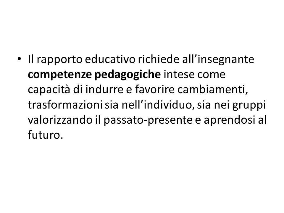 Il rapporto educativo richiede allinsegnante competenze pedagogiche intese come capacità di indurre e favorire cambiamenti, trasformazioni sia nellind