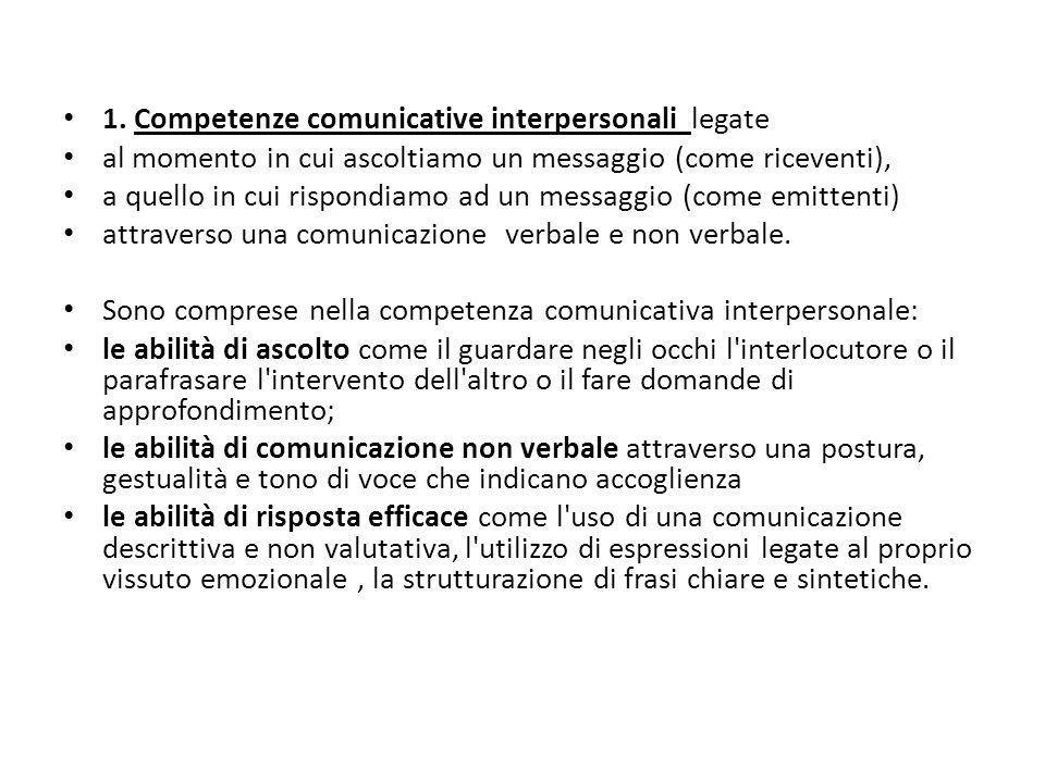 1. Competenze comunicative interpersonali legate al momento in cui ascoltiamo un messaggio (come riceventi), a quello in cui rispondiamo ad un messagg