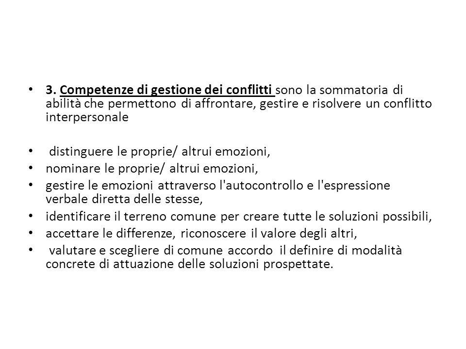 3. Competenze di gestione dei conflitti sono la sommatoria di abilità che permettono di affrontare, gestire e risolvere un conflitto interpersonale di