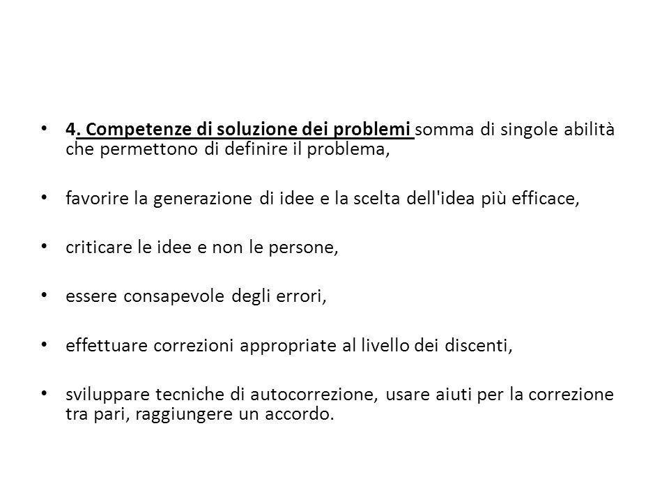 4. Competenze di soluzione dei problemi somma di singole abilità che permettono di definire il problema, favorire la generazione di idee e la scelta d