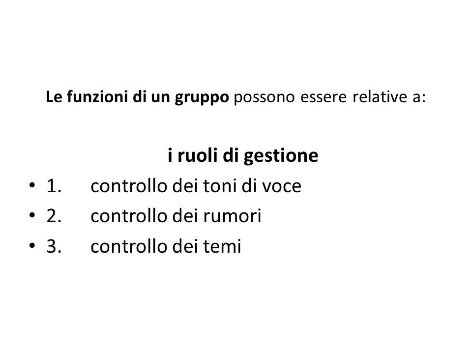 Le funzioni di un gruppo possono essere relative a: i ruoli di gestione 1. controllo dei toni di voce 2. controllo dei rumori 3. controllo dei temi