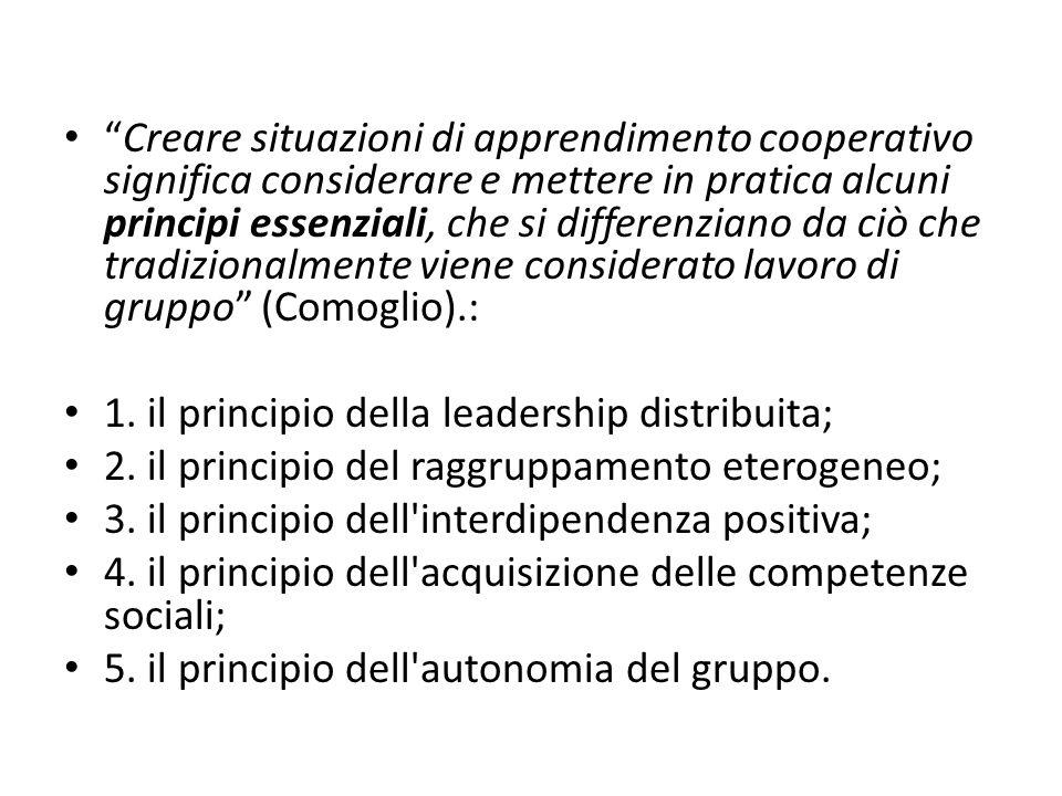 Creare situazioni di apprendimento cooperativo significa considerare e mettere in pratica alcuni principi essenziali, che si differenziano da ciò che