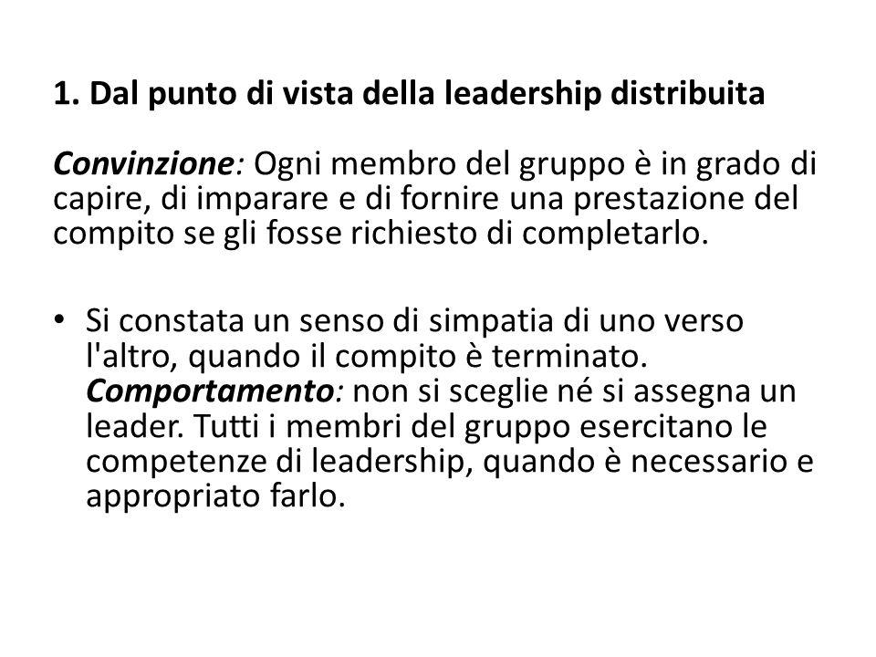 1. Dal punto di vista della leadership distribuita Convinzione: Ogni membro del gruppo è in grado di capire, di imparare e di fornire una prestazione