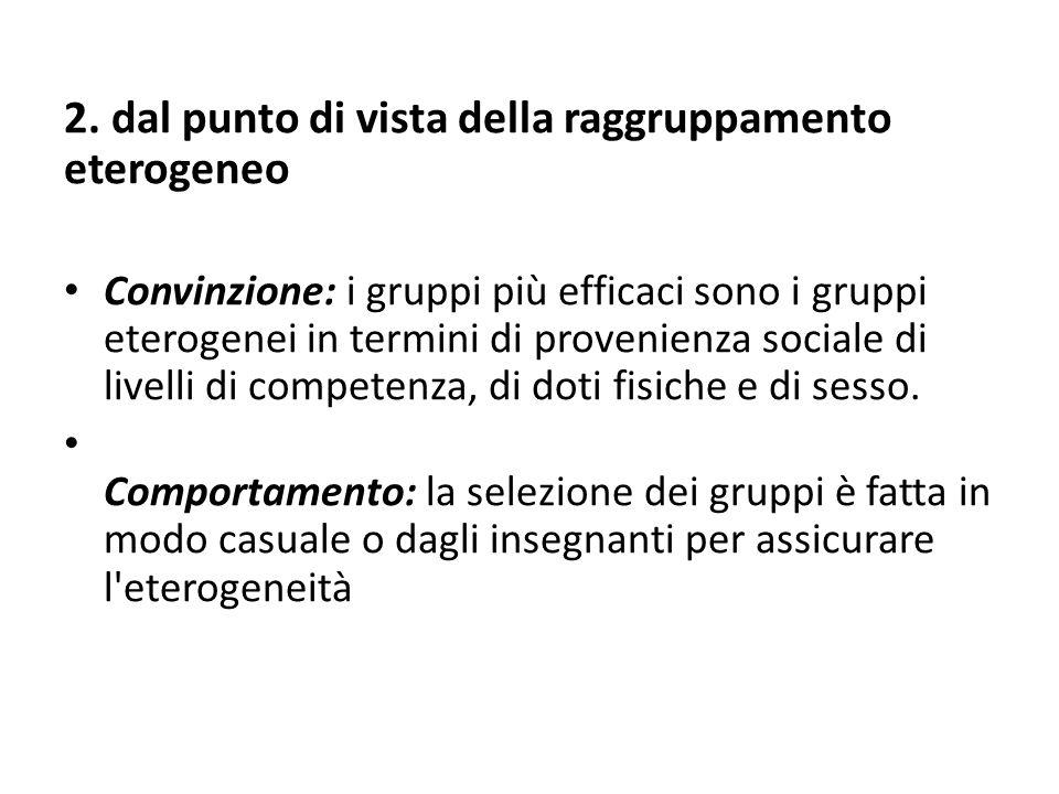 2. dal punto di vista della raggruppamento eterogeneo Convinzione: i gruppi più efficaci sono i gruppi eterogenei in termini di provenienza sociale di