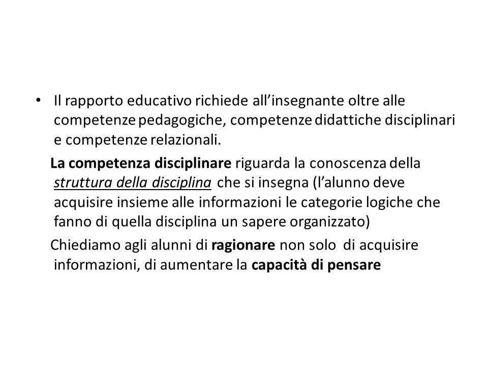 Il rapporto educativo richiede allinsegnante oltre alle competenze pedagogiche, competenze didattiche disciplinari e competenze relazionali. La compet