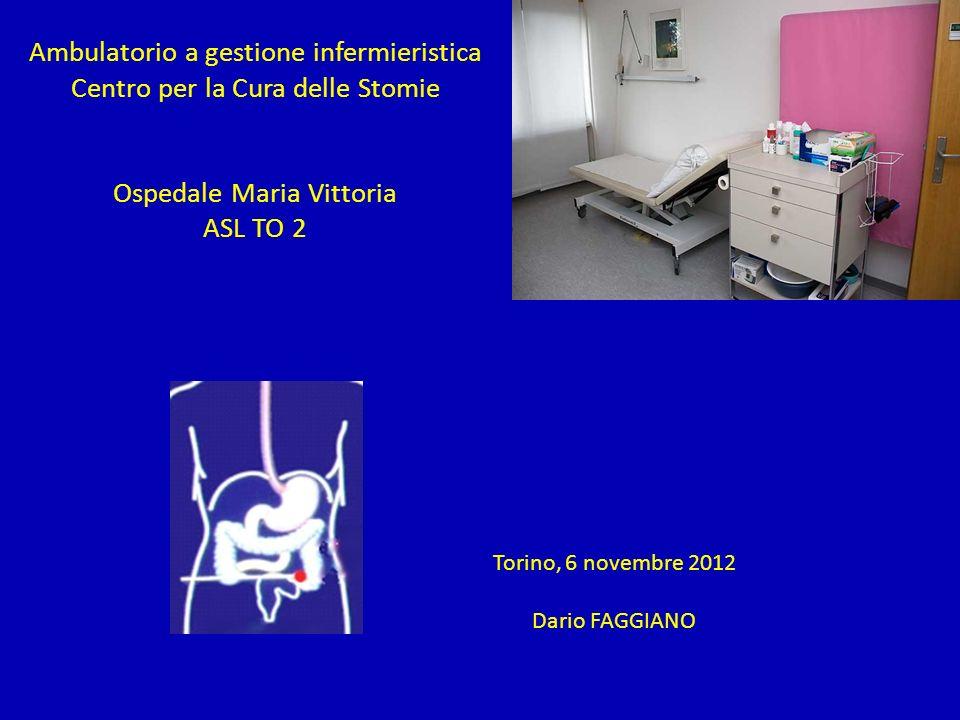 Ambulatorio a gestione infermieristica Centro per la Cura delle Stomie Ospedale Maria Vittoria ASL TO 2 Torino, 6 novembre 2012 Dario FAGGIANO